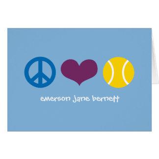 Paz, amor, azul del tenis tarjeta pequeña