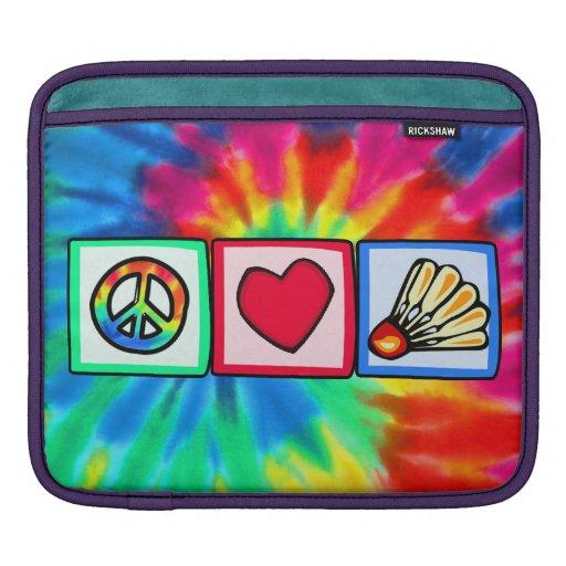 Paz, amor, bádminton fundas para iPads