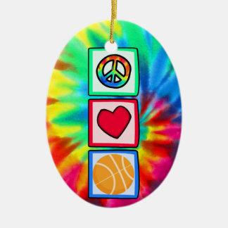 Paz, amor, baloncesto adorno navideño ovalado de cerámica