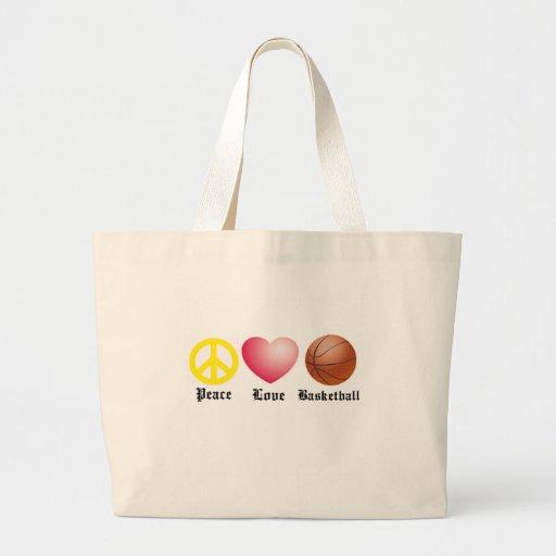 Paz, amor, baloncesto bolsas de mano