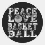 Paz, amor, baloncesto pegatina redonda