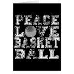 Paz, amor, baloncesto tarjetas