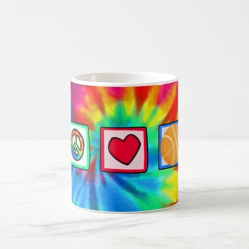 Paz, amor, baloncesto tazas de café