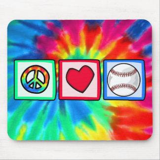 Paz, amor, béisbol alfombrillas de ratón