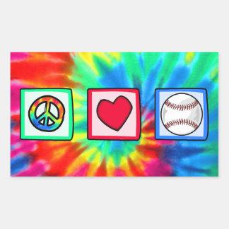 Paz, amor, béisbol pegatina rectangular
