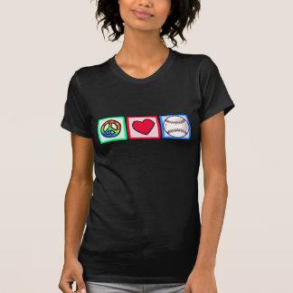Paz amor béisbol camisetas