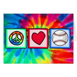 Paz, amor, béisbol tarjeta de felicitación