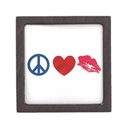 Paz, amor, beso del lápiz labial caja de regalo de calidad