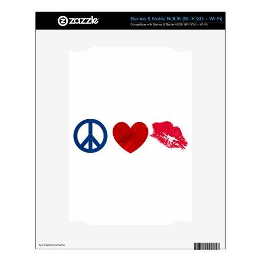 Paz, amor, beso del lápiz labial calcomanía para NOOK
