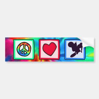 Paz amor bici de la suciedad etiqueta de parachoque