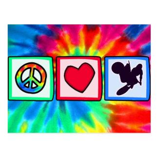 Paz, amor, bici de la suciedad tarjetas postales