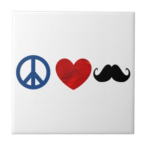 Paz, amor, bigote azulejo cuadrado pequeño