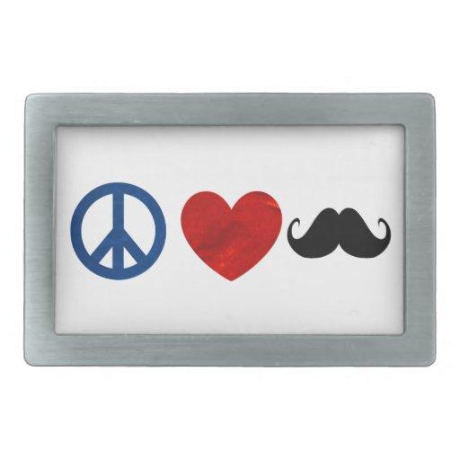 Paz, amor, bigote hebilla de cinturon