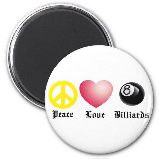 Paz, amor, billares (bola 8) imán de frigorifico