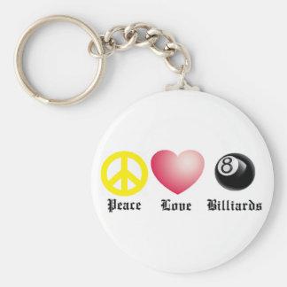 Paz, amor, billares (bola 8) llavero redondo tipo pin