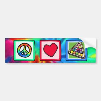 Paz, amor, billares etiqueta de parachoque