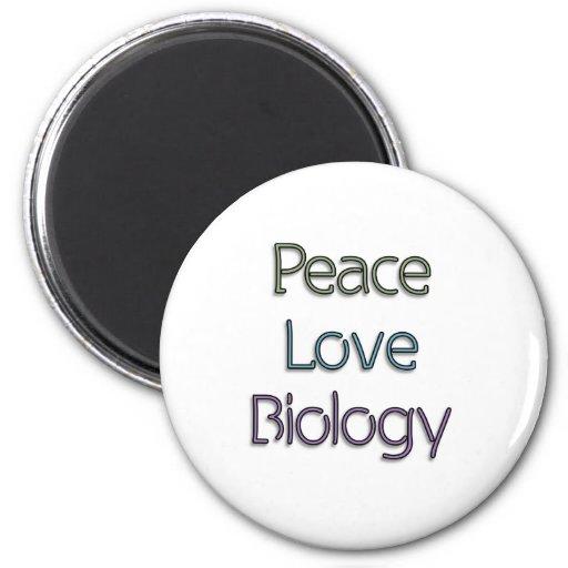Paz, amor, biología imán redondo 5 cm