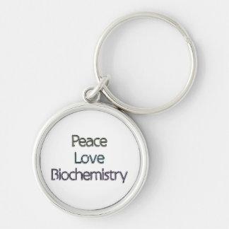 Paz, amor, bioquímica llavero redondo plateado