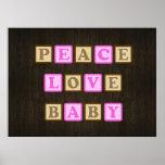 Paz, amor, bloques del bebé impresiones
