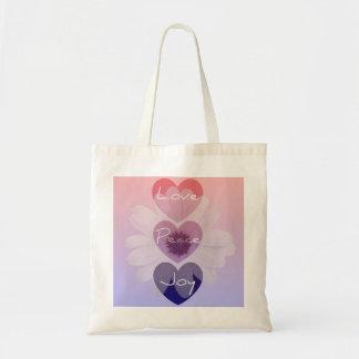 Paz, amor, bolso de la flor de la alegría bolsa tela barata