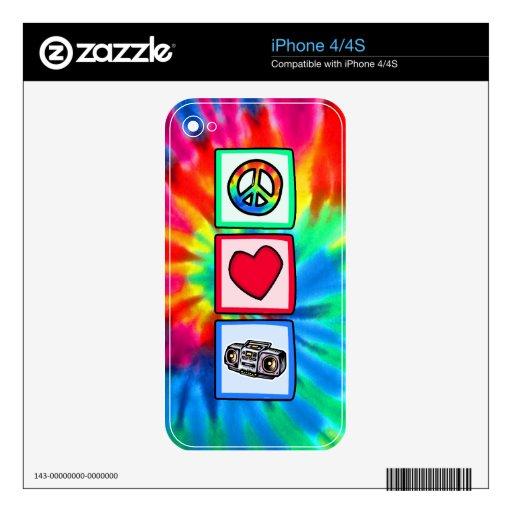 Paz, amor, Boombox iPhone 4S Calcomanía