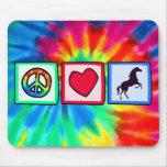 Paz, amor, caballos alfombrilla de ratones