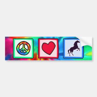 Paz amor caballos etiqueta de parachoque