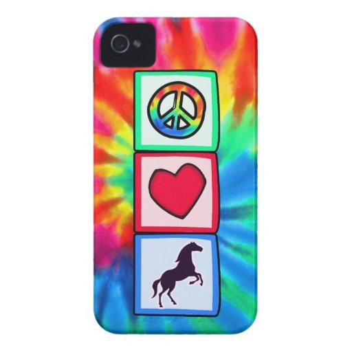 Paz, amor, caballos iPhone 4 Case-Mate funda