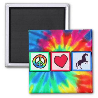 Paz, amor, caballos imán cuadrado