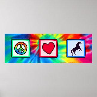 Paz, amor, caballos impresiones