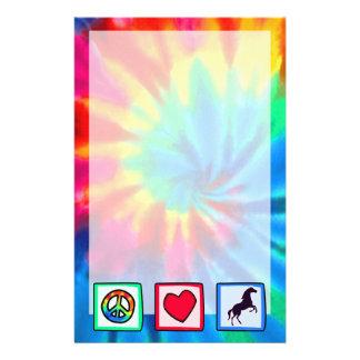 Paz, amor, caballos papelería de diseño