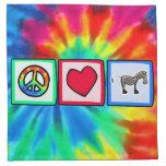 Paz, amor, caballos servilleta imprimida