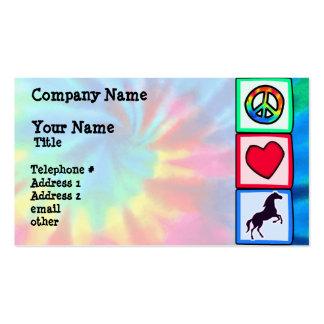 Paz, amor, caballos tarjetas personales