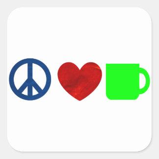 Paz, amor, café pegatina cuadrada