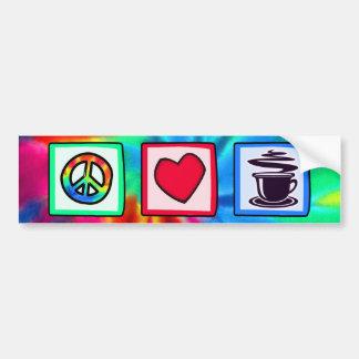 Paz, amor, café pegatina para auto