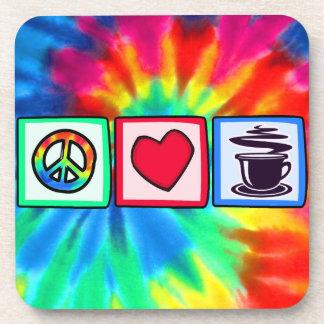 Paz, amor, café posavasos de bebidas