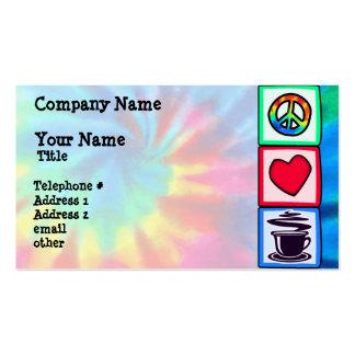 Paz, amor, café plantilla de tarjeta personal