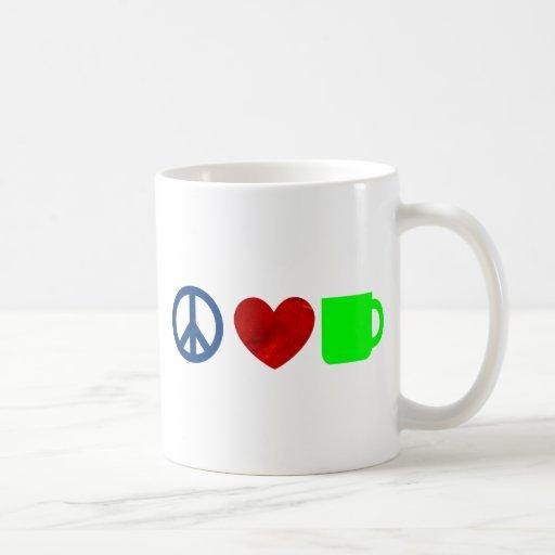 Paz, amor, café tazas