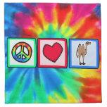 Paz, amor, camellos servilletas de papel