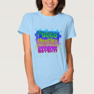 Paz, amor, camiseta de la felicidad remera