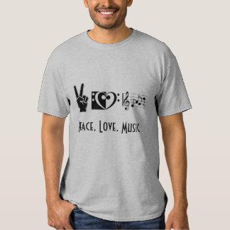 Paz, amor, camiseta de la música playera