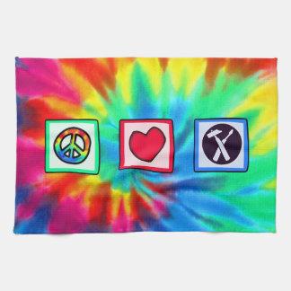 Paz amor carpinteros toallas de mano