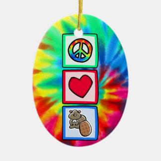 Paz, amor, castores adorno navideño ovalado de cerámica