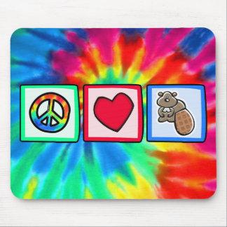 Paz amor castores alfombrillas de ratón