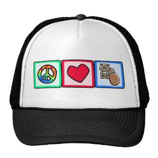Paz, amor, castores gorras