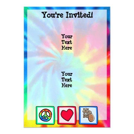 Paz, amor, castores invitación 12,7 x 17,8 cm