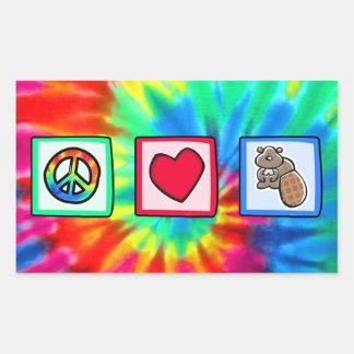 Paz, amor, castores rectangular pegatina