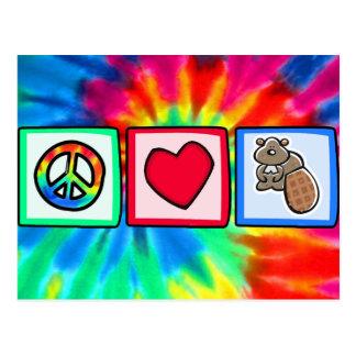 Paz, amor, castores tarjetas postales