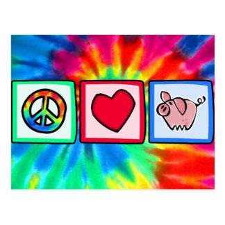 Paz, amor, cerdos tarjetas postales