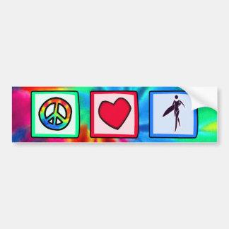 Paz, amor, chicas de la persona que practica surf pegatina de parachoque